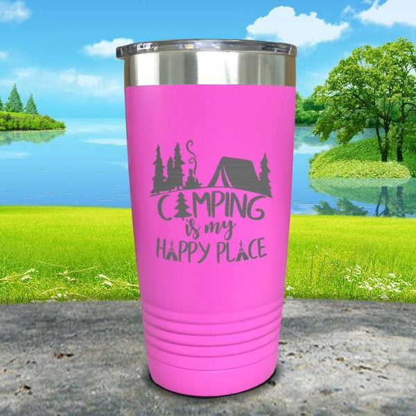 Camping Is My Happy Place Engraved Tumbler Tumbler ZLAZER 20oz Tumbler Pink