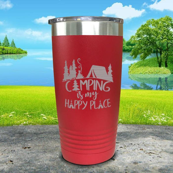 Camping Is My Happy Place Engraved Tumbler Tumbler ZLAZER 20oz Tumbler Red