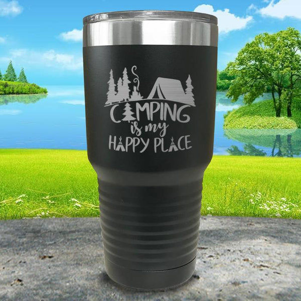 Camping Is My Happy Place Engraved Tumbler Tumbler ZLAZER 30oz Tumbler Black