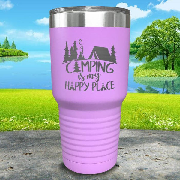 Camping Is My Happy Place Engraved Tumbler Tumbler ZLAZER 30oz Tumbler Lavender