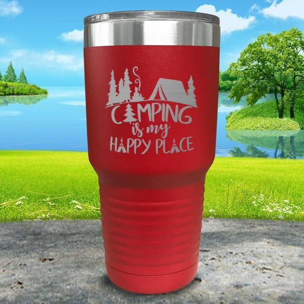 Camping Is My Happy Place Engraved Tumbler Tumbler ZLAZER 30oz Tumbler Red
