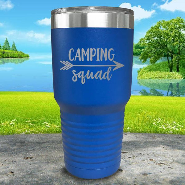 Camping Squad Engraved Tumbler Tumbler Nocturnal Coatings 30oz Tumbler Blue