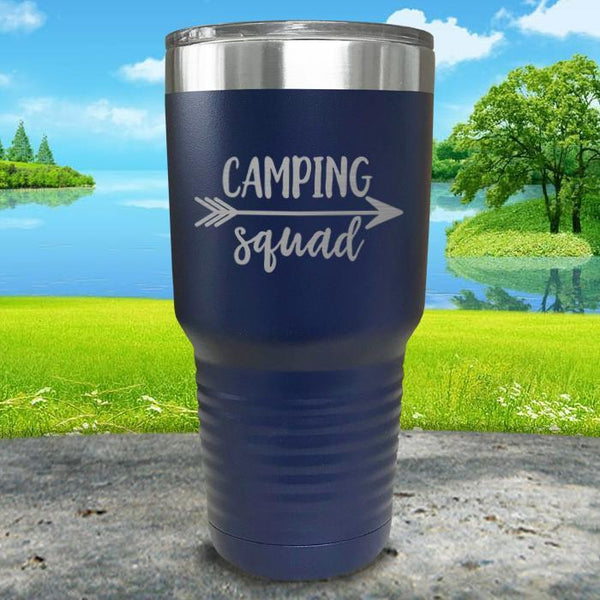 Camping Squad Engraved Tumbler Tumbler Nocturnal Coatings 30oz Tumbler Navy