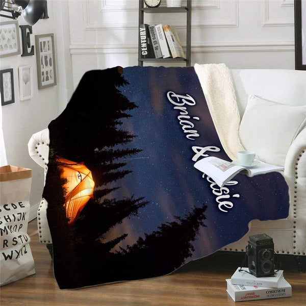 Camping Personalized Sherpa Blanket Blankets Lemons Are Blue