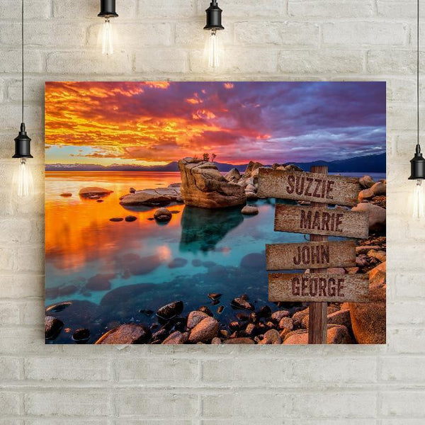 Rocky Sunset Shore Personalized Premium Canvas