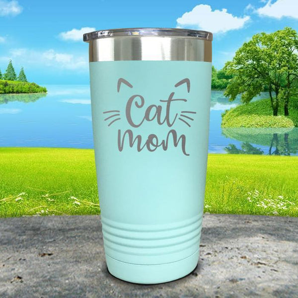 Cat Mom Engraved Tumbler Tumbler ZLAZER 20oz Tumbler Mint