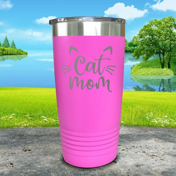 Cat Mom Engraved Tumbler Tumbler ZLAZER 20oz Tumbler Pink