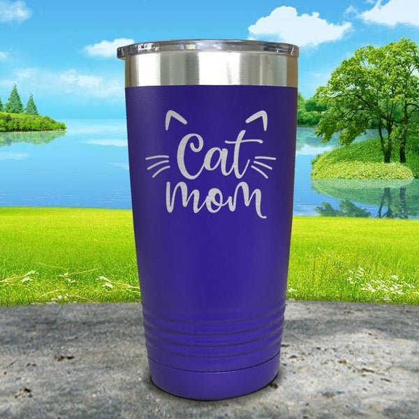 Cat Mom Engraved Tumbler Tumbler ZLAZER 20oz Tumbler Royal Purple