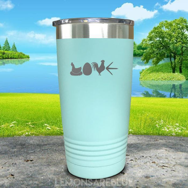 Chicken Love Engraved Tumbler Tumbler ZLAZER 20oz Tumbler Mint