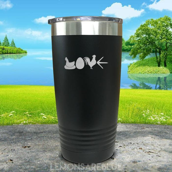 Chicken Love Engraved Tumbler Tumbler ZLAZER 20oz Tumbler Black