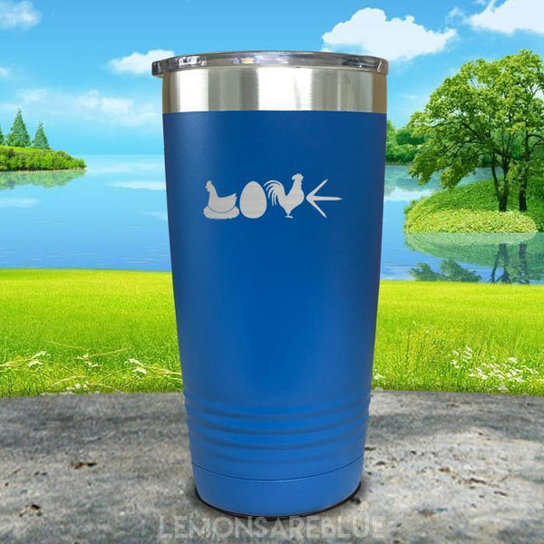 Chicken Love Engraved Tumbler Tumbler ZLAZER 20oz Tumbler Blue