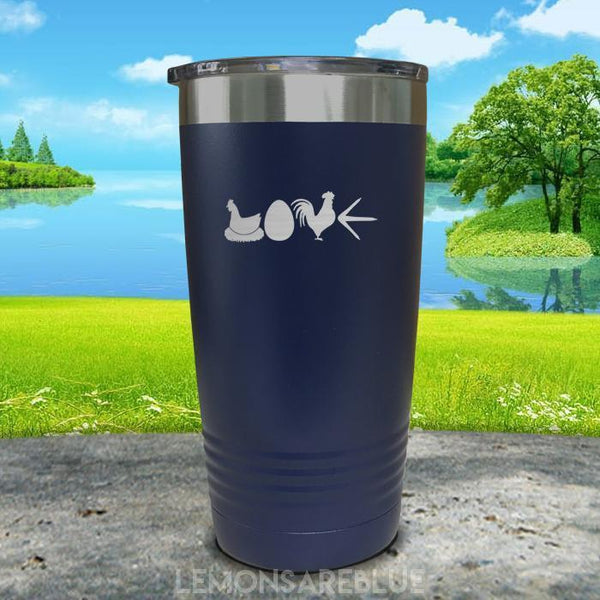 Chicken Love Engraved Tumbler Tumbler ZLAZER 20oz Tumbler Navy
