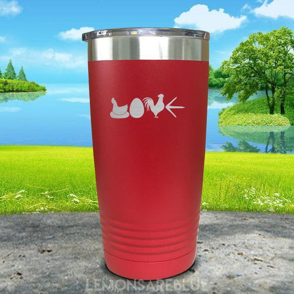 Chicken Love Engraved Tumbler Tumbler ZLAZER 20oz Tumbler Red