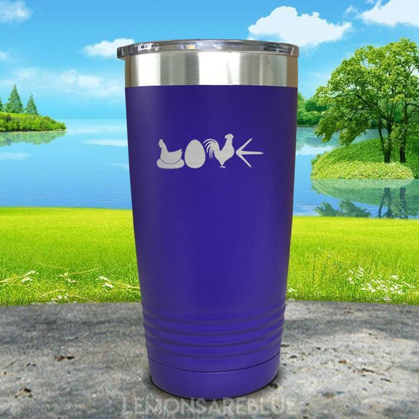 Chicken Love Engraved Tumbler Tumbler ZLAZER 20oz Tumbler Royal Purple