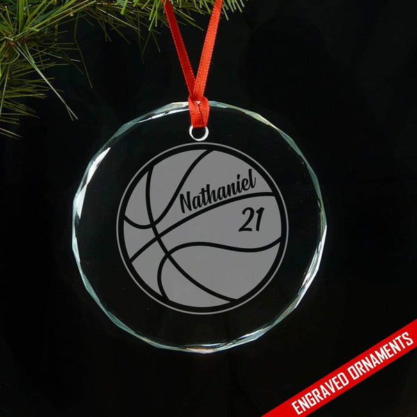 Basketball CUSTOM Engraved Glass Ornament Ornament ZLAZER Circle Ornament