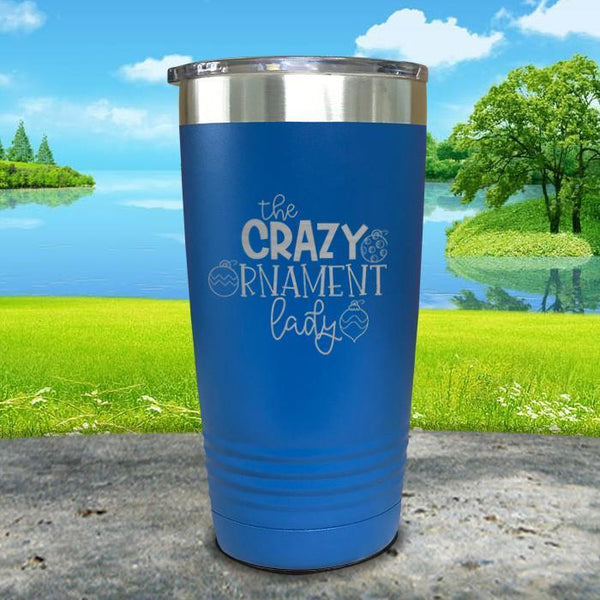 Crazy Ornament Lady Engraved Tumbler Tumbler ZLAZER 20oz Tumbler Lemon Blue