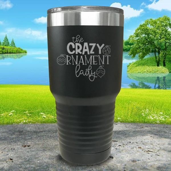 Crazy Ornament Lady Engraved Tumbler Tumbler ZLAZER 30oz Tumbler Black