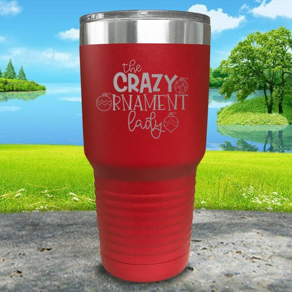 Crazy Ornament Lady Engraved Tumbler Tumbler ZLAZER 30oz Tumbler Red