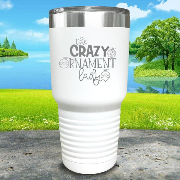 Crazy Ornament Lady Engraved Tumbler Tumbler ZLAZER 30oz Tumbler White