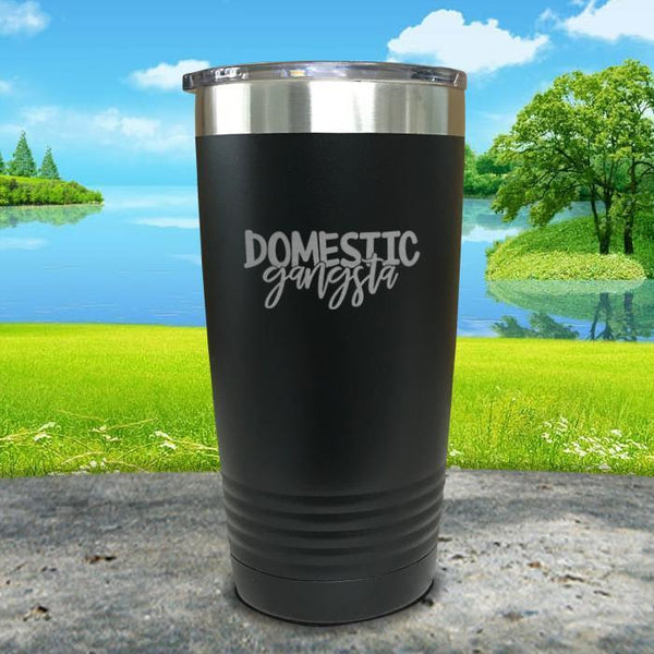 Domestic Gangsta Engraved Tumbler Tumbler ZLAZER 20oz Tumbler Black