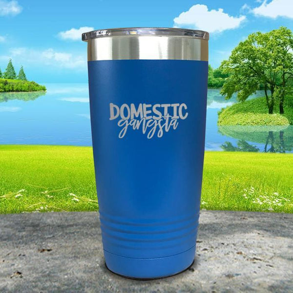 Domestic Gangsta Engraved Tumbler Tumbler ZLAZER 20oz Tumbler Blue