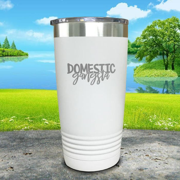 Domestic Gangsta Engraved Tumbler Tumbler ZLAZER 20oz Tumbler White