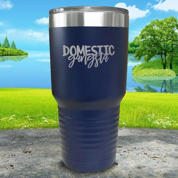 Domestic Gangsta Engraved Tumbler Tumbler ZLAZER 30oz Tumbler Navy