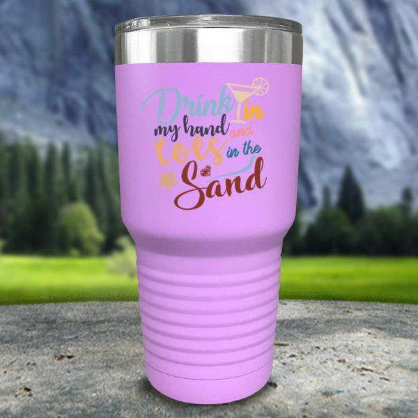 Drink In my Hand and Toes In The Sand Color Printed Tumblers Tumbler Nocturnal Coatings 30oz Tumbler Lavender