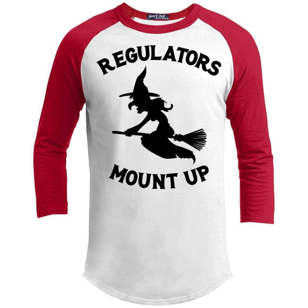Regulators Mount up Raglan T-Shirts CustomCat White/Red X-Small