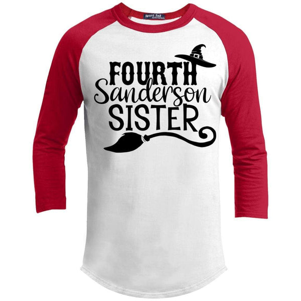 4th Sanderson Sister Raglan T-Shirts CustomCat White/Red X-Small