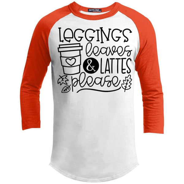 Leggings Leaves & Lattes Please T-Shirts CustomCat White/Deep Orange X-Small