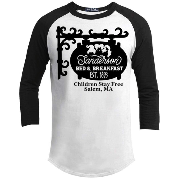 Sanderson Bed Breakfast Raglan T-Shirts CustomCat White/Black X-Small