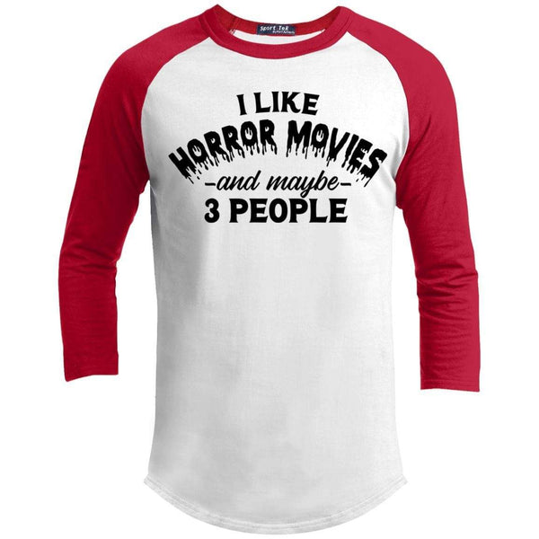 I Like Horror Movies and 3 People Raglan T-Shirts CustomCat White/Red X-Small