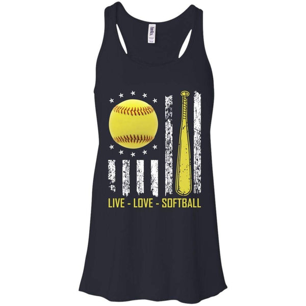 Grunge Live Love Softball Flowy Racerback Tank T-Shirts CustomCat Midnight X-Small