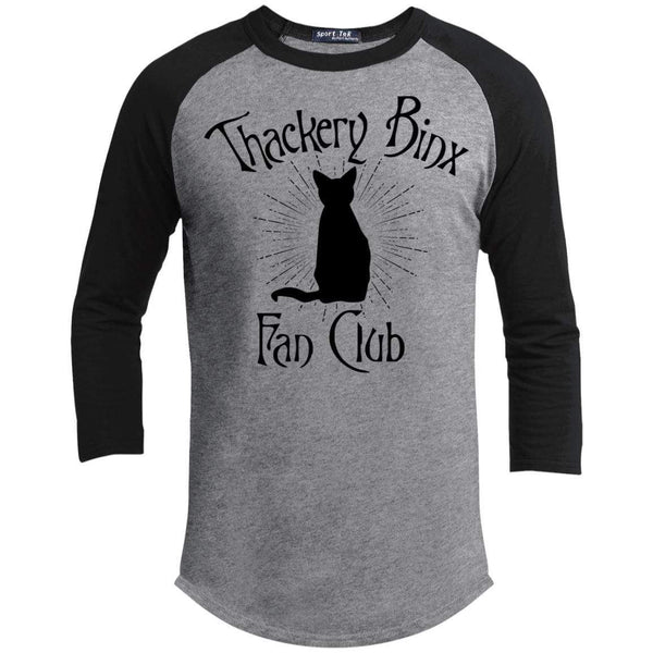 Thackery Binks Raglan T-Shirts CustomCat Heather Grey/Black X-Small