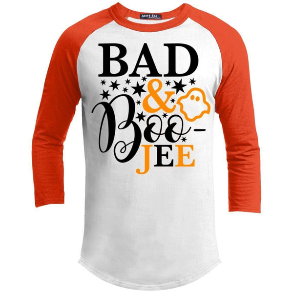 Bad And Boo-jee Raglan T-Shirts CustomCat White/Deep Orange X-Small