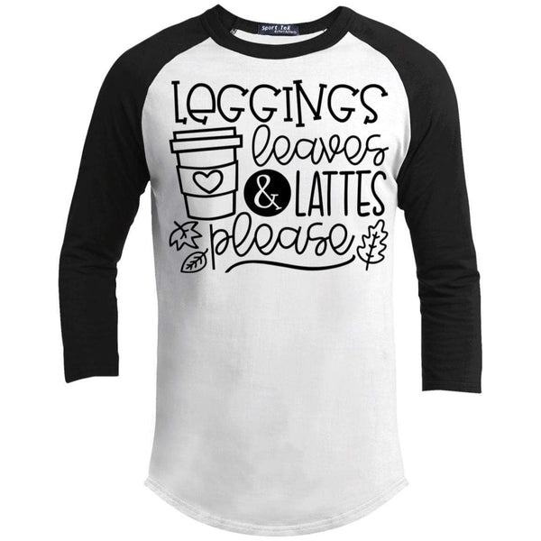 Leggings Leaves & Lattes Please T-Shirts CustomCat White/Black X-Small