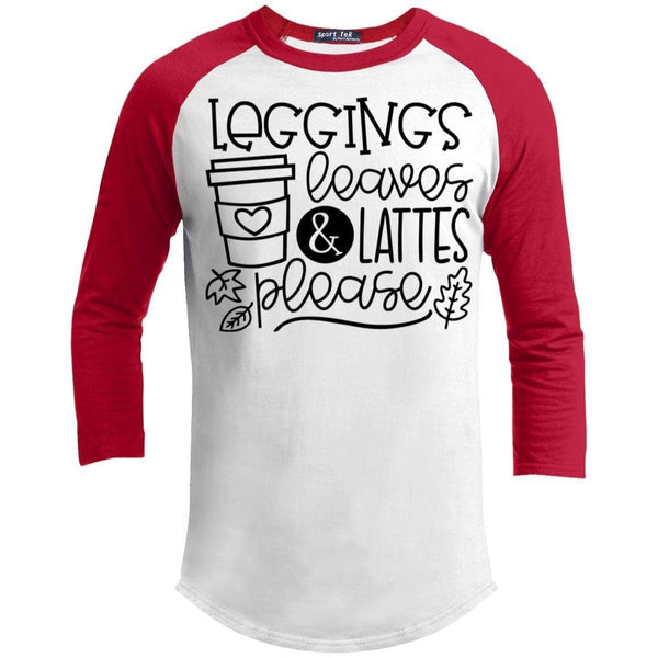 Leggings Leaves & Lattes Please T-Shirts CustomCat White/Red X-Small