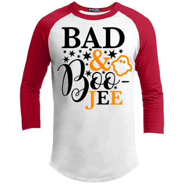 Bad And Boo-jee Raglan T-Shirts CustomCat White/Red X-Small