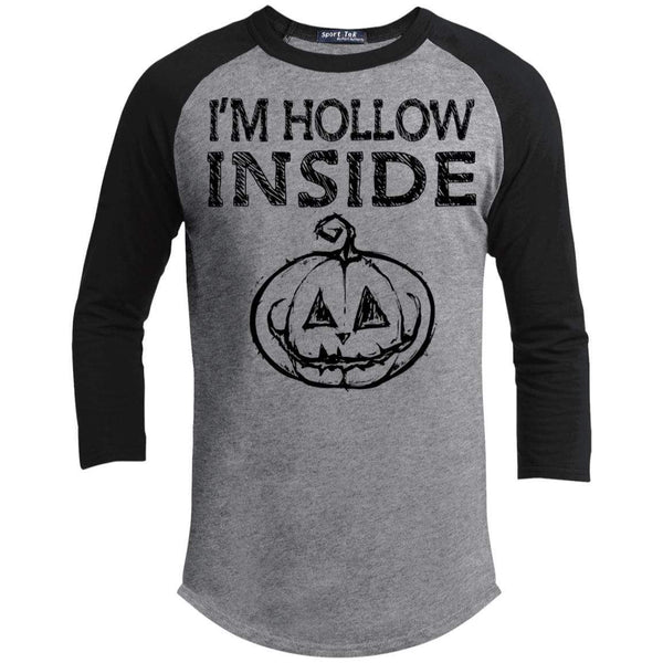 I'm Hollow Inside Raglan T-Shirts CustomCat Heather Grey/Black X-Small