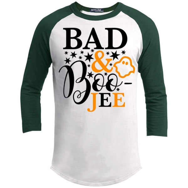 Bad And Boo-jee Raglan T-Shirts CustomCat White/Forest X-Small