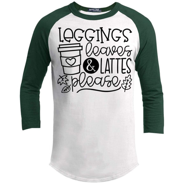 Leggings Leaves & Lattes Please T-Shirts CustomCat White/Forest X-Small
