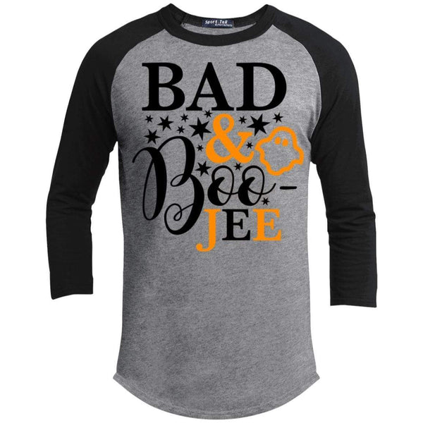Bad And Boo-jee Raglan T-Shirts CustomCat Heather Grey/Black X-Small