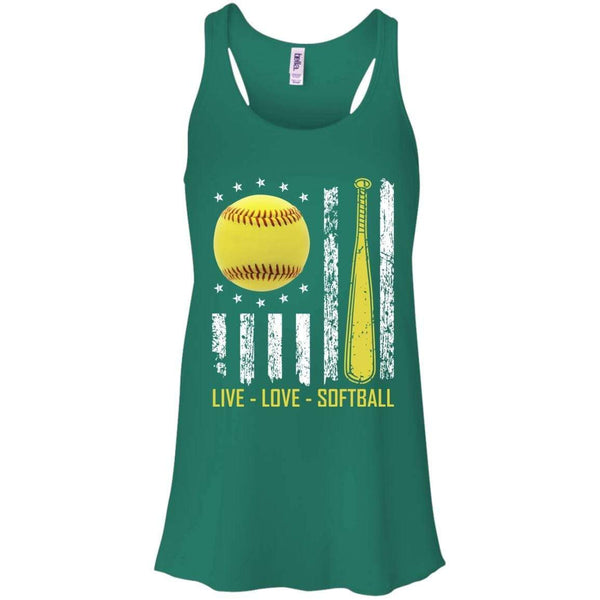 Grunge Live Love Softball Flowy Racerback Tank T-Shirts CustomCat Kelly Green X-Small