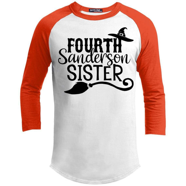 4th Sanderson Sister Raglan T-Shirts CustomCat White/Deep Orange X-Small