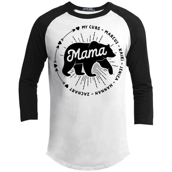 Mama Bear Personalized Raglan T-Shirts CustomCat White/Black X-Small