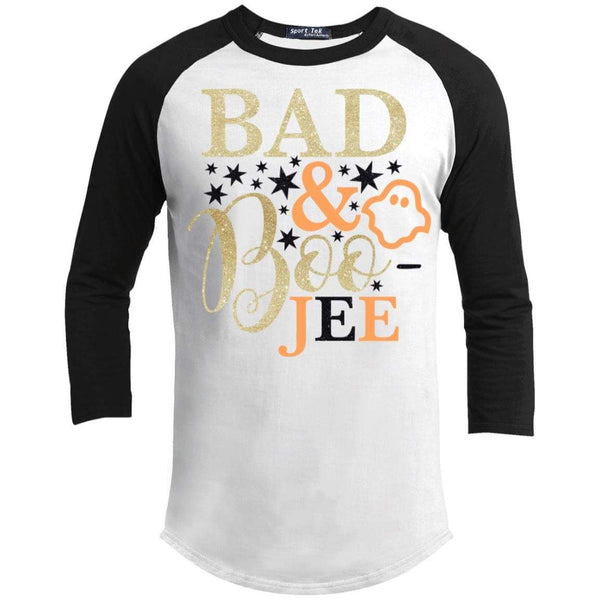 Bad and Boojee Glitter Raglan T-Shirts CustomCat White/Black X-Small