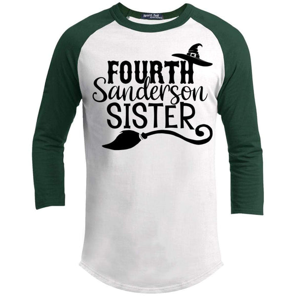 4th Sanderson Sister Raglan T-Shirts CustomCat White/Forest X-Small