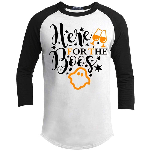 Here For The Boos Raglan T-Shirts CustomCat White/Black X-Small