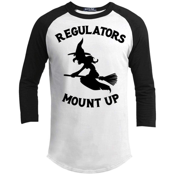 Regulators Mount up Raglan T-Shirts CustomCat White/Black X-Small